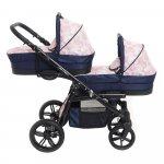 Carucior copii gemeni tandem 2 in 1 Pj Stroller Lux Cube