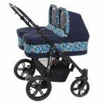 Carucior copii gemeni side by side 3 in 1 Pj Stroller Lovely Blue Leaves