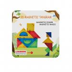 Joc de constructie magnetic Tangram 9 piese