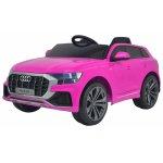 Masinuta electrica cu scaun de piele si roti din cauciuc EVA Audi Q8 Pink