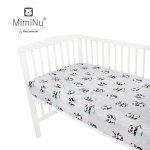 Cearceaf cu elastic 120x60 cm Panda happy day Mint MimiNu
