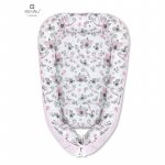 Cosulet bebelus pentru dormit Baby Cocoon 90x50 cm Pink/Birds Pink MimiNu