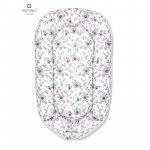 Cosulet bebelus pentru dormit Baby Nest 105x66 cm Velvet Birds pink/Pink MimiNu