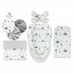 Set 4 in 1 Cosulet bebelus Baby Cocoon 90x50 cm Forest friends Grey/Mint