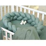 Protectie laterala patut bebe bumper impletit Inchidere Velcro bumbac Pure Salvia 210 cm