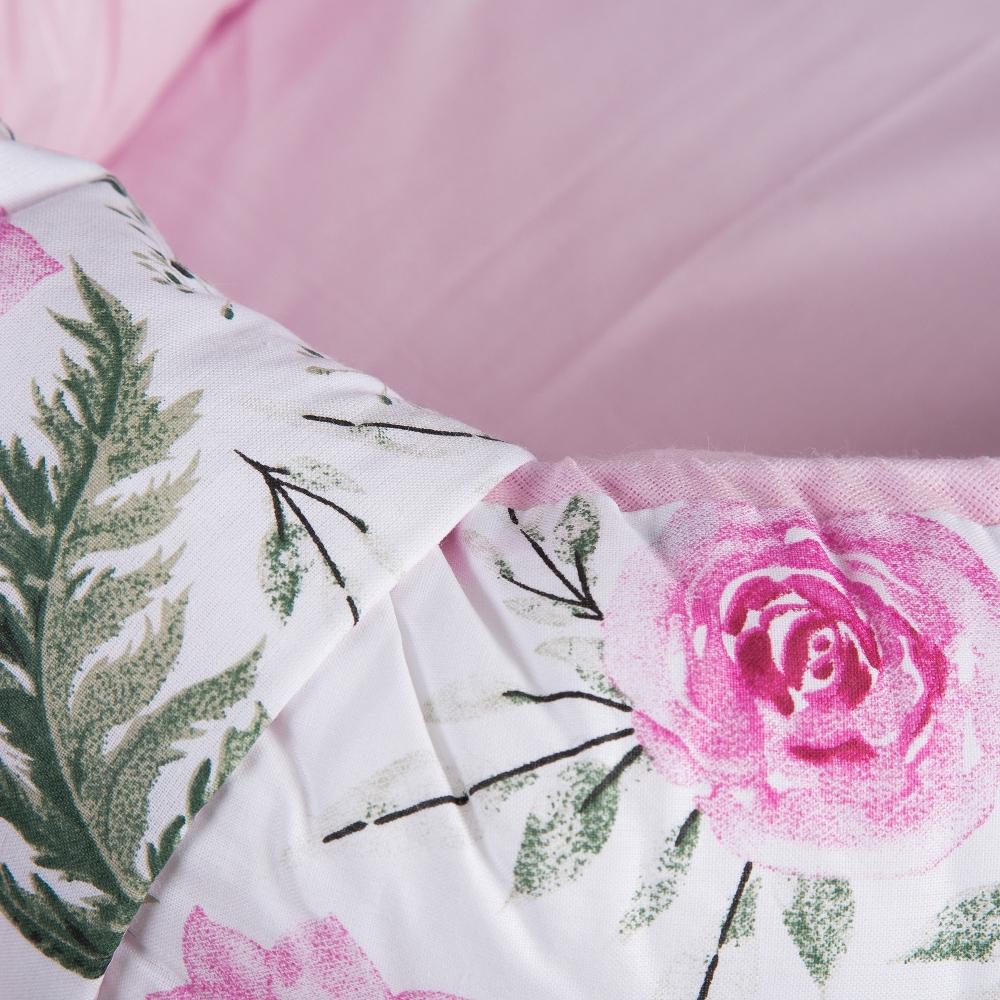 Baby Nest reversibil multifunctional pentru bebelusi Rose Garden Pink 70 x 45 cm