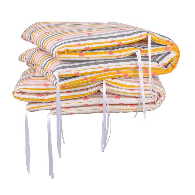 Set aparatori pat 120x60 cm Inimioare Dungi multicolore