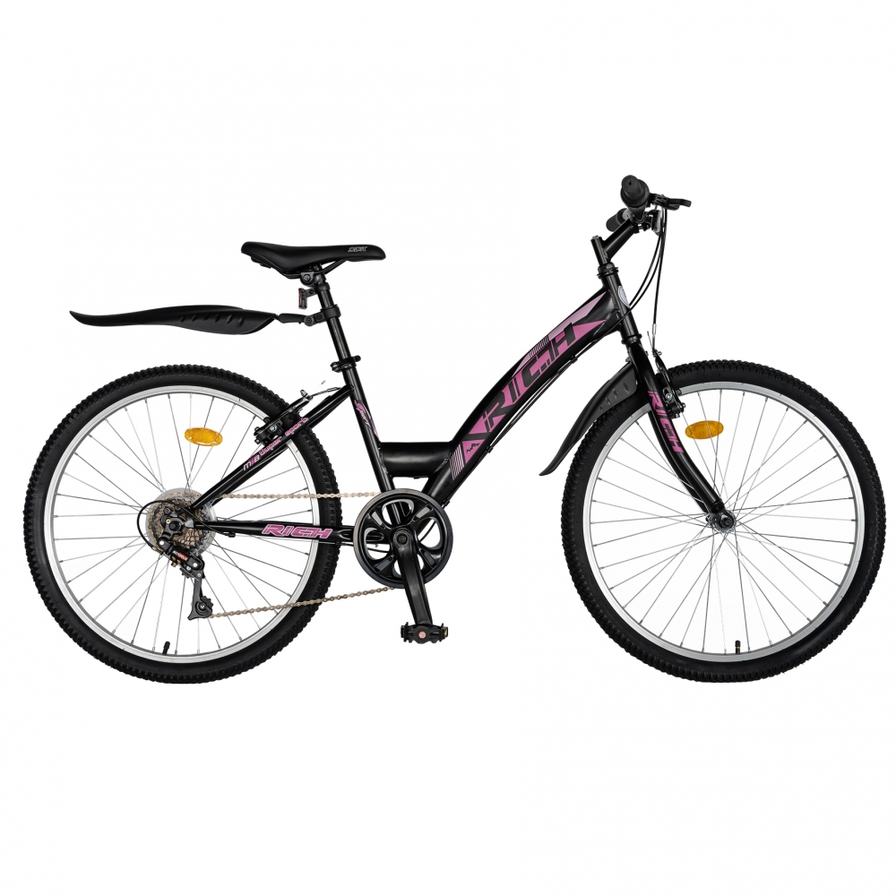Bicicleta Trekking 24 Rich R2430A 6 viteze negrufucsia