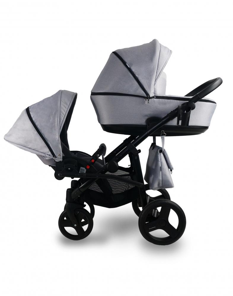 Carucior copii gemeni Tandem 2 in 1 Bexa Lux Grey imagine