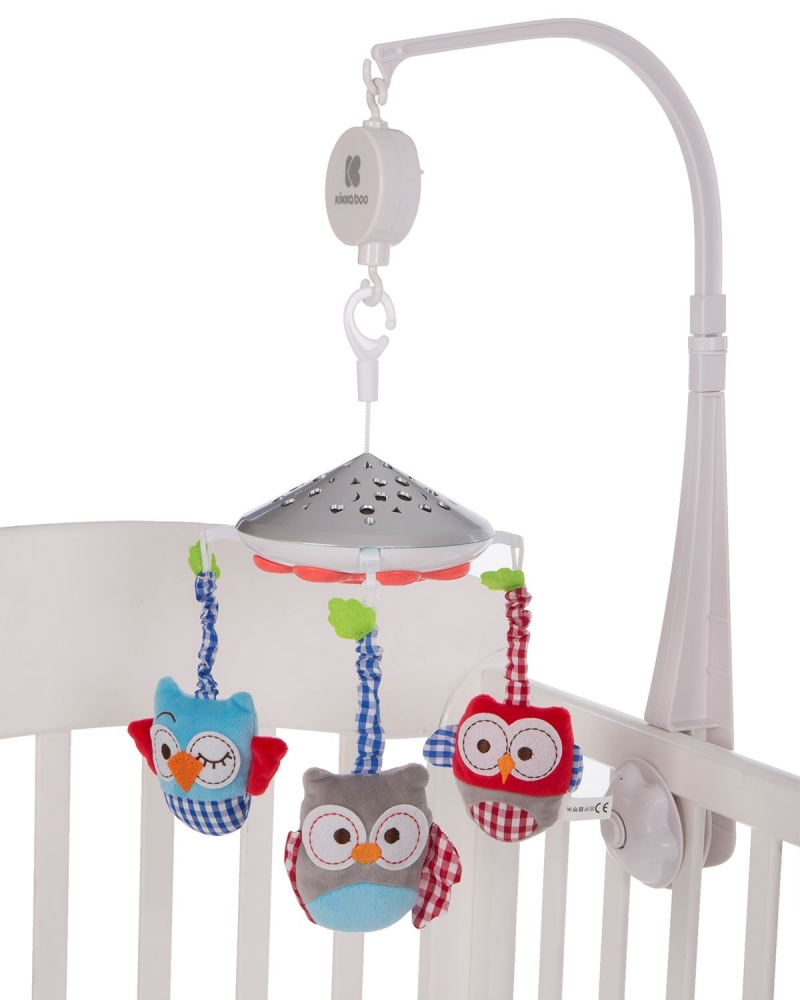 Carusel KikkaBoo Owls White muzical cu proiectii