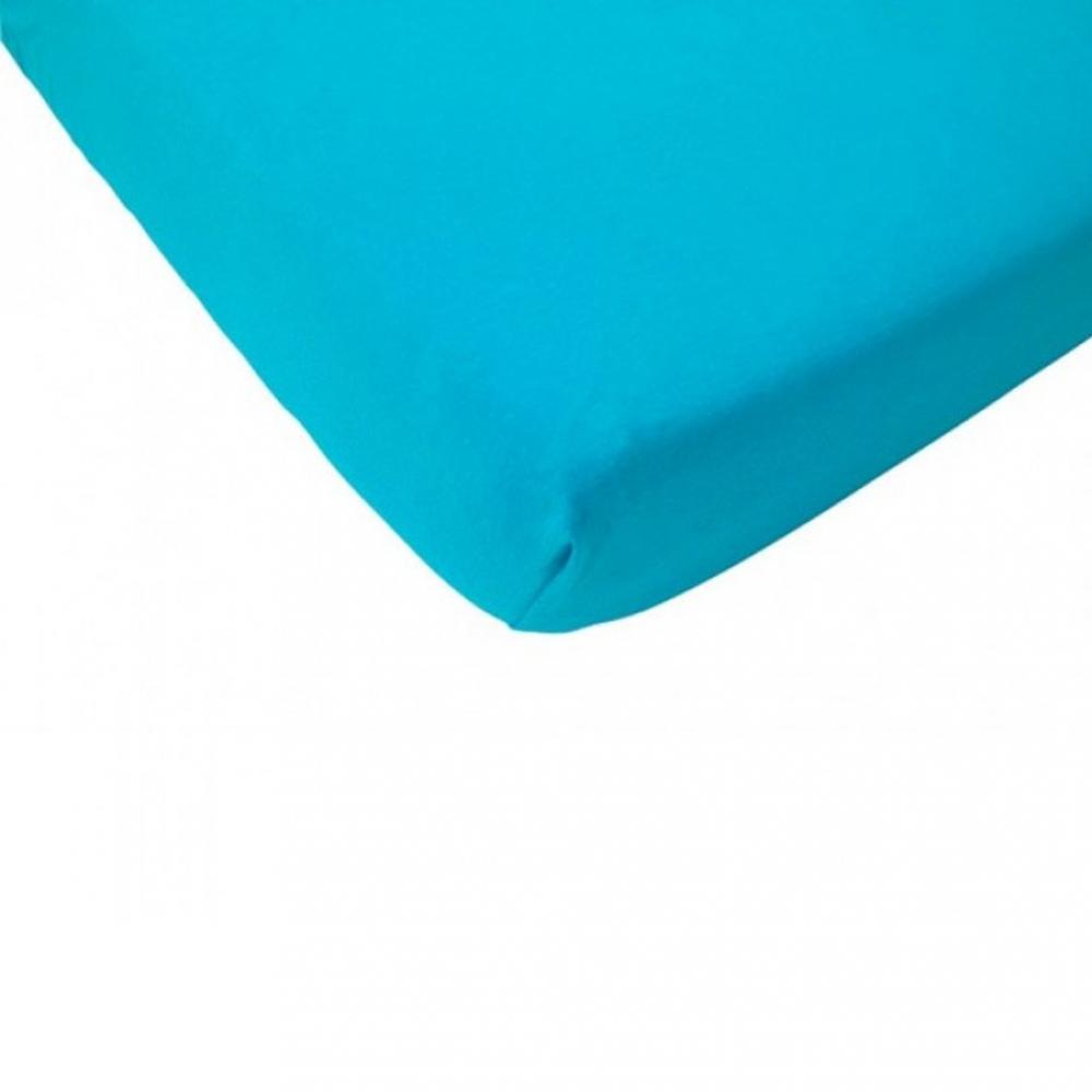 Cearsaf cu elastic pat copii pentru saltea 90x200 cm albastru aqua