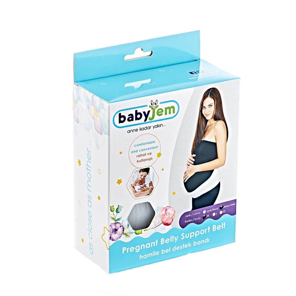 Centura abdominala pentru sustinere prenatala BabyJem Pregnancy White L