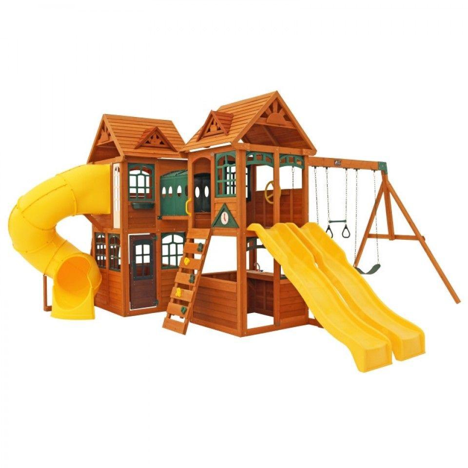 Complex de joaca din lemn de cedru Kingsbridge Wooden Kidkraft imagine