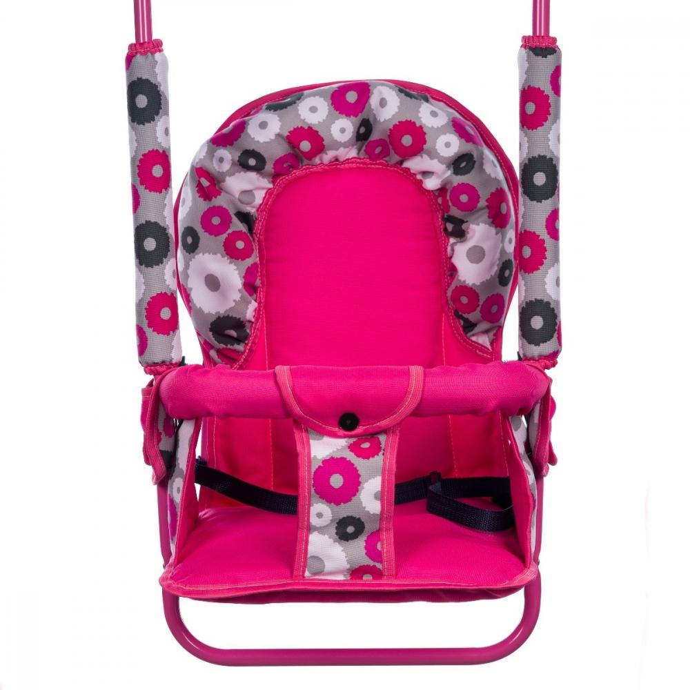 Leagan pentru copii Top Kids cu spatar reglabil Pink Flowers imagine