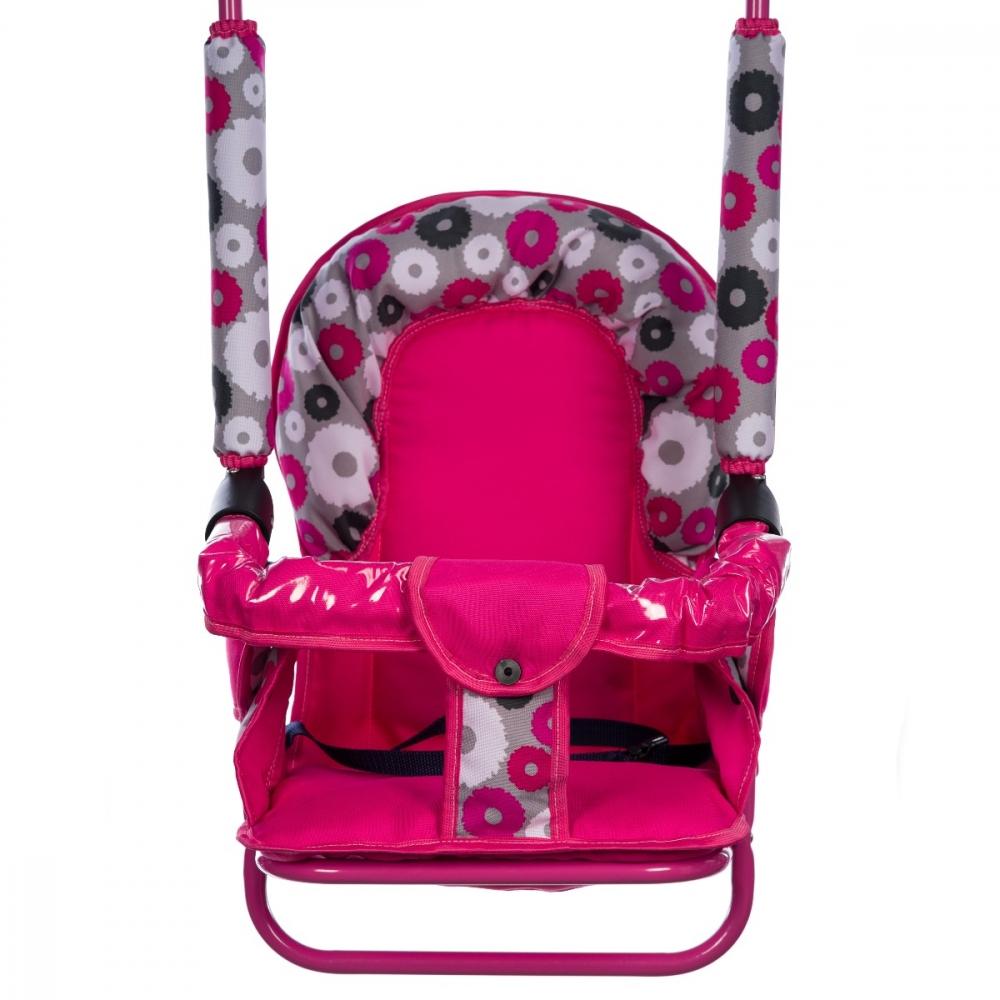Leagan Pentru Copii Top Kids Cu Spatar Reglabil Si Bara Detasabila Pink Flowers