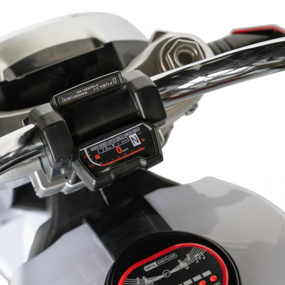 Motocicleta electrica copii cu acumulator, muzica si lumini albnegru imagine
