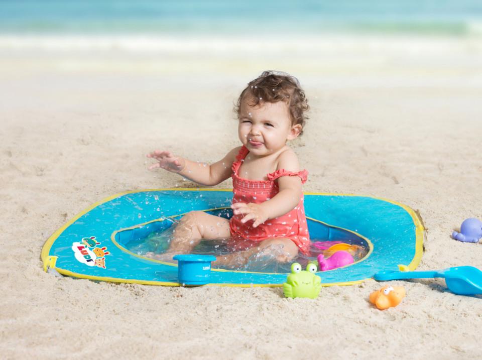 Pachet Minipiscina de plaja cu jucarii 123 SOARE+Cort UV50 Sun Set