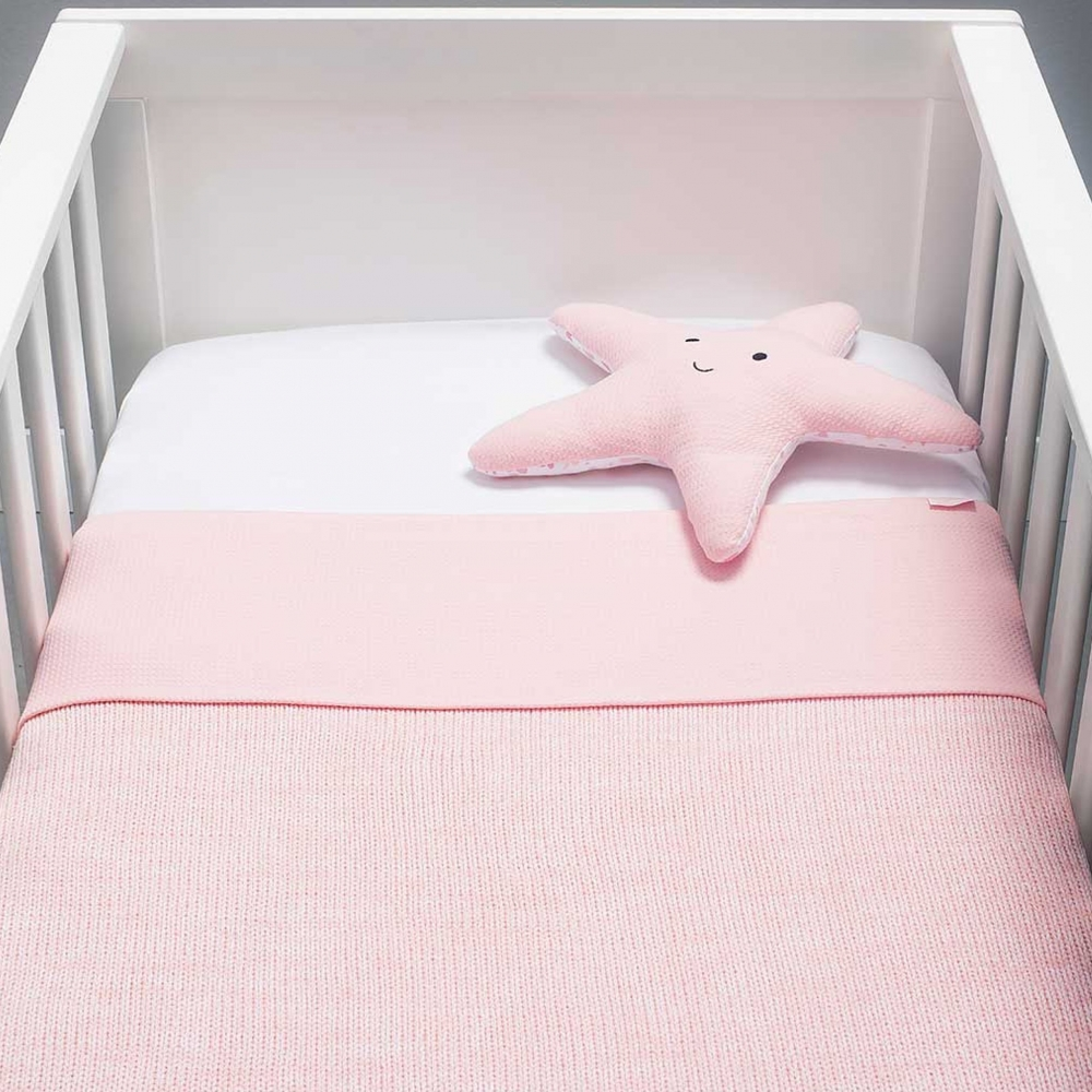 Paturica bebe Melange Knit 100x150 cm tricot roz melanj