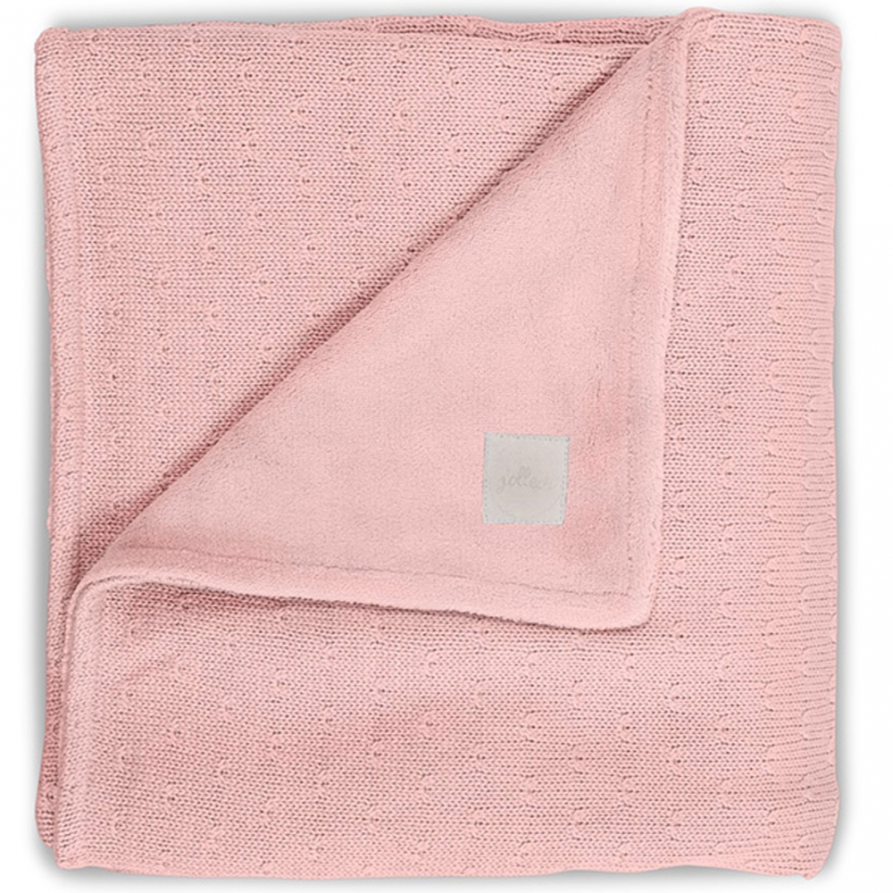 Paturica bebe 2 fete Soft 100x150 cm tricot fleece roz corai imagine
