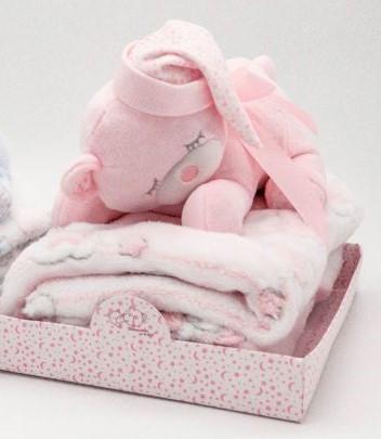 Paturica cocolino pink cu jucarie ursul 22 cm Hausmann