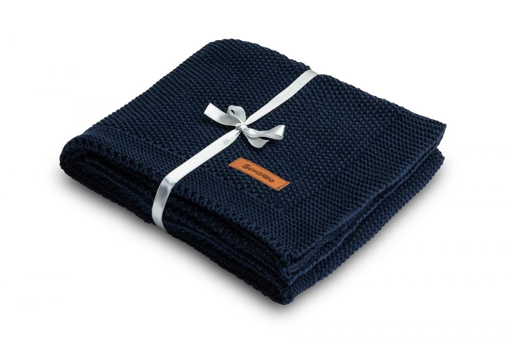 Paturica de bumbac tricotata Sensillo 100x80 cm albastra inchis imagine