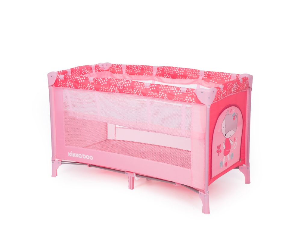 Patut pliabil cu 2 nivele KikkaBoo Pyjama Party Pink Fox