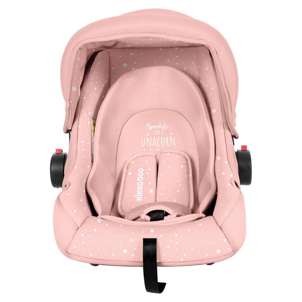 KikkaBoo Scaun auto 0-13 kg KikkaBoo Little Traveler Pink Unicorn 2020