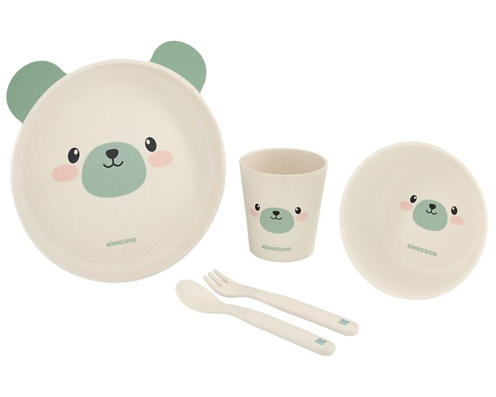 Set de masa cu 5 piese KikkaBoo Bamboo Bear Mint
