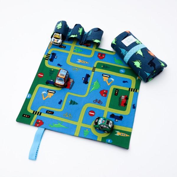 Set joaca cu 3 masinute si covoras cu dinozauri Tiny Magic portabil imagine