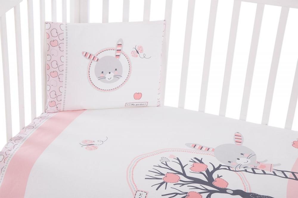 Set lenjerie patut cu 5 piese KikkaBoo Pink Bunny imagine