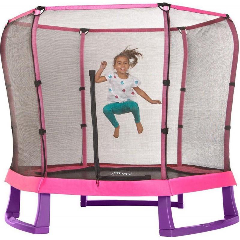 Set trambulina copii cu plasa de protectie Junior Pink Purple 7FT Plum imagine
