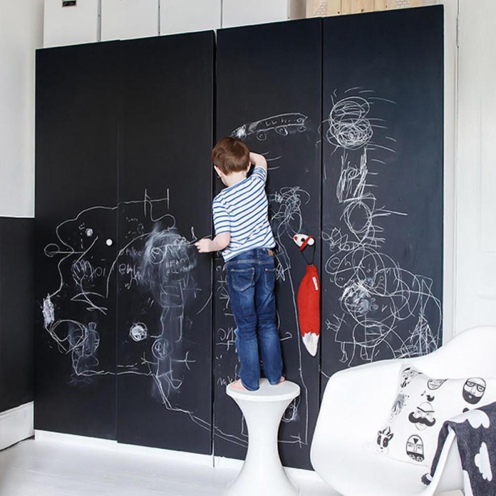 Sticker perete copii Tabla de scris cu creta neagra 123 x 100 cm imagine
