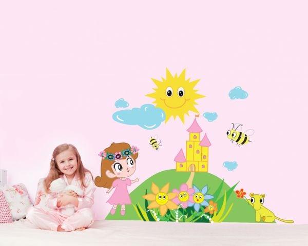 Sticker perete copii Printesa 96 x 75cm