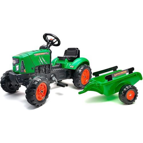 Tractor SuperCharger verde cu remorca si capota mobila