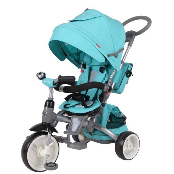 Tricicleta cu sezut reversibil Sun Baby 007 Little Tiger Melange Turquoise