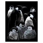 Gravura pe folie argintie Familie de pinguini