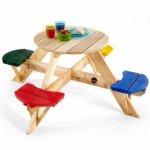 Masa de joaca din lemn cu scaune colorate pentru 4 copii Plum