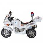 Motocicleta electrica copii cu baterie, muzica si girofar alb