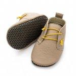Pantofi cu talpa moale Liliputi cu crampoane antialunecare Urban Latte XXL 16 cm