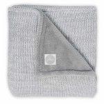 Paturica bebe 2 fete Melange Knit 100x150 cm tricot fleece gri melanj