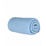 Paturica bebe tricotata bumbac 72x110 cm Puzzle Blue