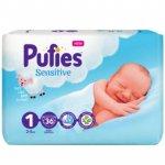 Scutece Pufies Sensitive 1 Newborn New born Pack  2-5 kg 36 buc