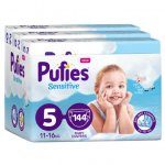 Scutece Pufies Sensitive 5 Junior Monthly Box 11-16 kg 144 buc