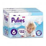 Scutece Pufies Sensitive 6 Extra Large  Monthly Pack 13+ kg 132 buc