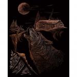 Set gravura pe folie aramie Lup urland