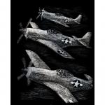 Set gravura pe folie argintie Avioane de lupta