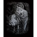 Set gravura pe folie argintie Lupi in duet