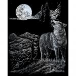Set gravura pe folie argintie Lupul si luna