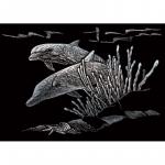Set gravura pe folie argintie mica Delfini