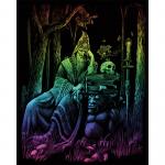 Set gravura pe folie curcubeu Vrajitor